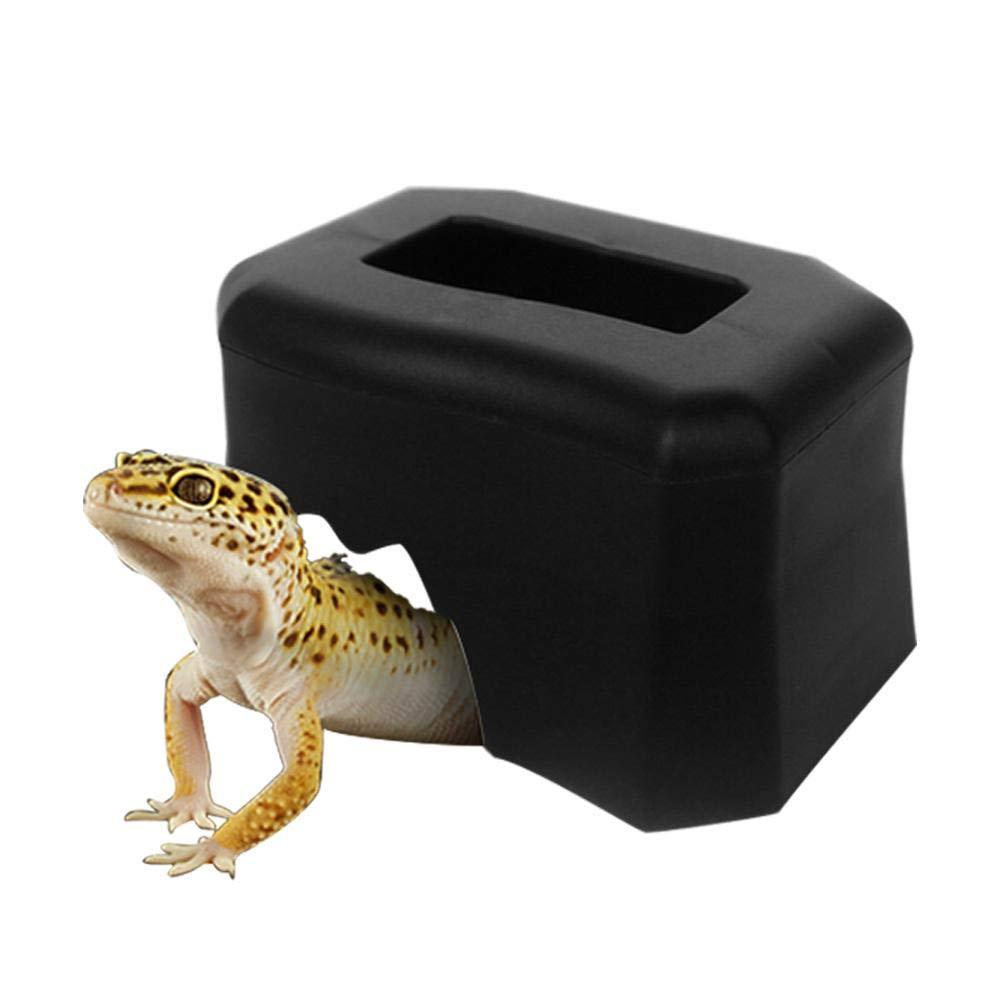 Mignon84cookreptile Maison Abri avec gamelle pour Reptile, telles Que la Corne de Serpents, Grenouilles, Tortues d'escalade Boîtes aménagement paysager (Noir, Blanc Deux Couleurs pour Choisir)