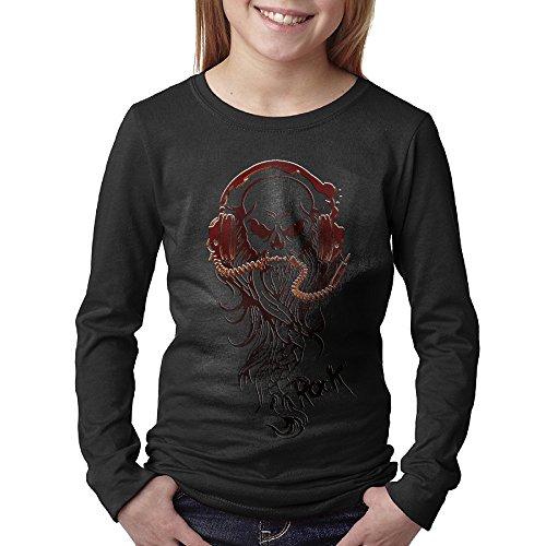 Rock Moustache Skull Headphones T-shirt Long Sleeve Medium Black For ()