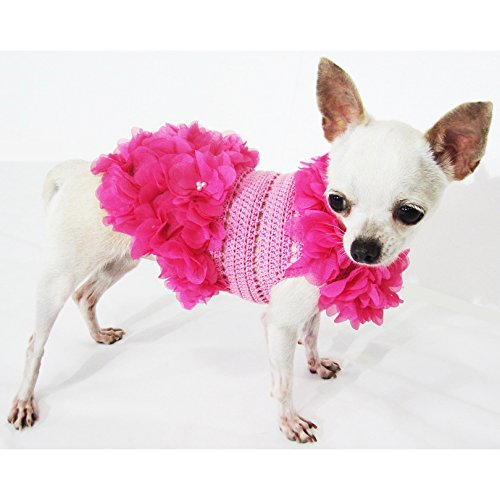 Crochet Pink Dog Dress With Pearls Flower Unique Pet Clothes 14F (XS)