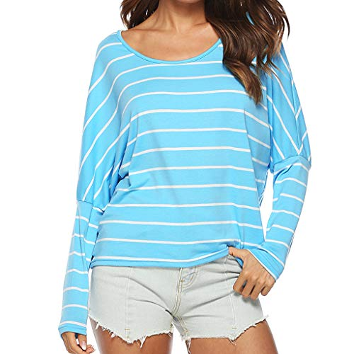 YKARITIANNA Women O-Neck Striped Easy Tee Casual Batwing Long Sleeve Blouse T-Shirt Tops Light Blue