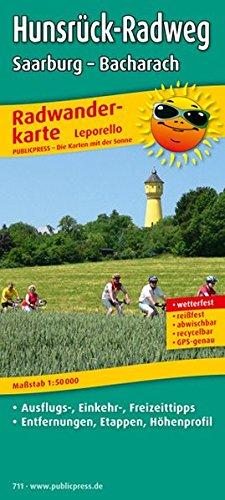 Hunsrück-Radweg, Saarburg - Bacharach: Leporello Radtourenkarte mit Ausflugszielen, Einkehr- & Freizeittipps, Entfernungen, Etappen, Höhenprofil, ... 1:50000 (Leporello Radtourenkarte / LEP-RK)