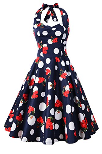 Chicanary Women's Floral Printed Cotton Halter Swing Vintage Dress (Large, (Cherry Halter Dress)