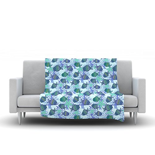 Kess InHouse Julia Grifol My Colorful Fishes Blue Teal Fleece Throw Blanket 80 by 60