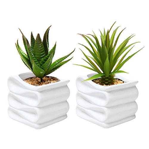 Amazon mygift set of 2 modern decorative folded design small amazon mygift set of 2 modern decorative folded design small ceramic plant pot flower planter white garden outdoor mightylinksfo