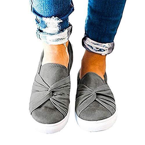 Huiyuzhi Womens Slip On Top Ruched Knot Flatform Fashion Sneakers A-dark Grey