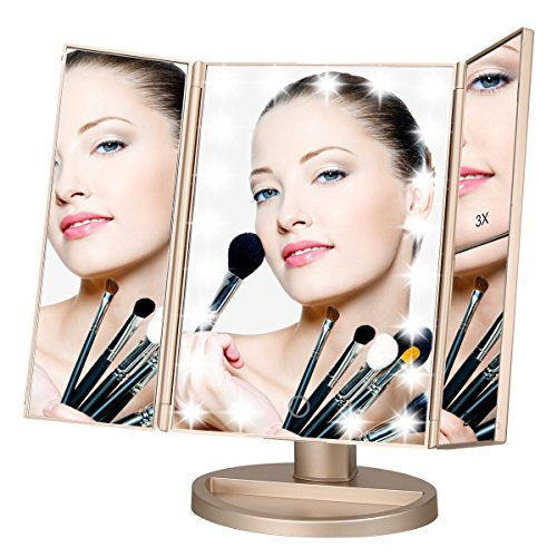 Lighted Makeup Mirror, LEJU Touch Screen LED Table Makeup Mirror -Three Panel 21pcs Led Light Tabletop Cosmetic Mirror with USB Cable,2X and 3X Magnification (Gold)