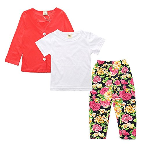 3Pcs Kids Toddler Baby Girls Coat T-Shirt Tops Long Pants Flower Outfit Clothes Set by Kids Tales