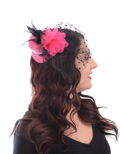 [Top of the World Mini Top Hat Fascinator Hair Clip Hat with Flowers Feathers Polka Dot Net and Veil (Hot] (Pink Top Hats)