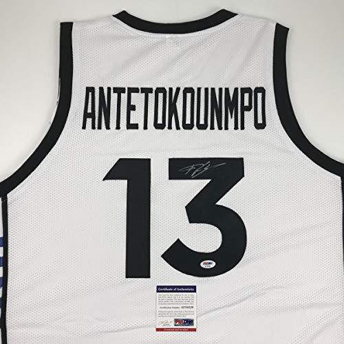 Autographed/Signed Giannis Antetokounmpo Greek Greece White Basketball Jersey PSA/DNA COA