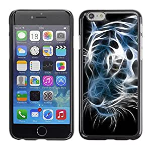 Caucho caso de Shell duro de la cubierta de accesorios de protección BY RAYDREAMMM - Apple iPhone 6 - Iridescent Tiger Black White Neon