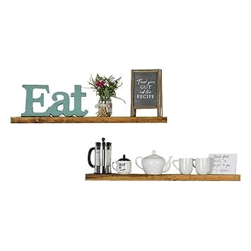 Del Hutson Designs Handmade 36 Inch Rustic Pine Floating Wall Shelves,  Walnut (Set