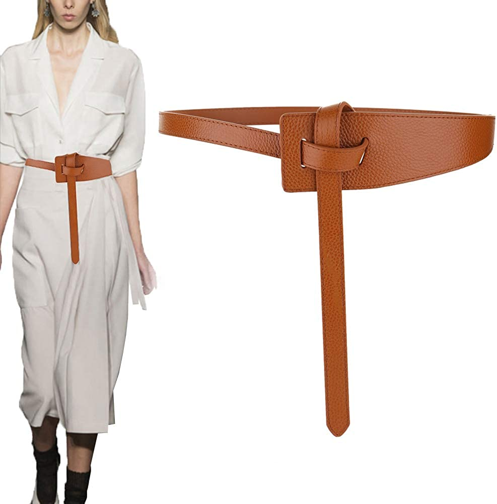 Longwu Mujer Cinturón de cuero de piel de vaca genuino Atar un cinturón de nudo Cinturón de cintura de moda para jeans Vestidos Abrigo de mono