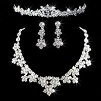 New Rhinestone Crystal Flower Necklace Earrings Crown Jewelry Sets for Bridal Wedding