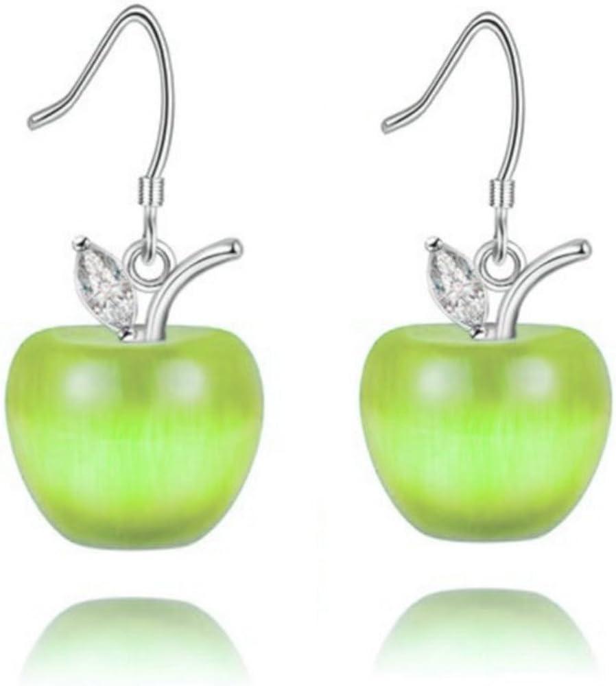 Uloveido Cute Apple Dangle Drop Fruit Stud Earrings Jewelry for Women and Teen Girls Kids with Crystal YL007