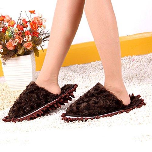 Jiyaru Dust Cleaning Slippers Vloer Dweilen Chenille Schoenen Verwijderbare Koffie