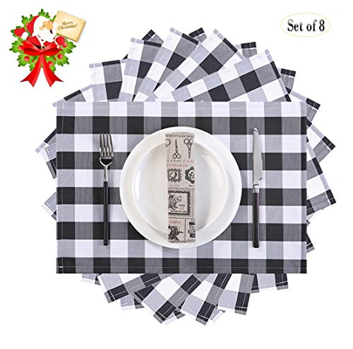 MASO DEREVE Buffalo Check Placemats, Table Mats Set of 8,Heat Resistant Kitchen Tablemats for Dining Table (Black and White) (Set And White Dining Black)