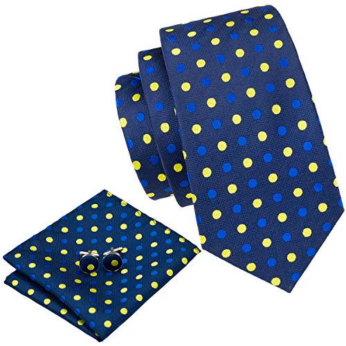 Barry.Wang Blue and Yellow Ties Set for Men Polka Dots Party Wedding (Blue Shirt Yellow Tie)