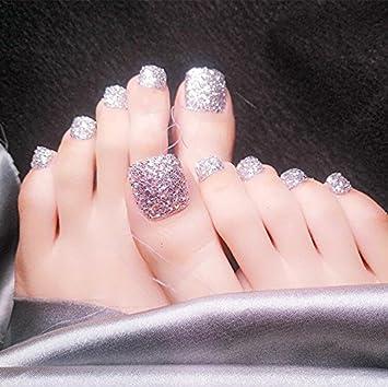 Amazon.com : 24pcs Holiday Toe Nails Mystery Glitter Strarry Silver ...