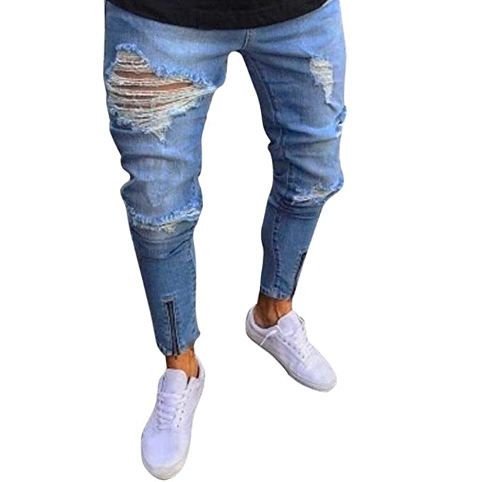 3bff1b11b78 iMakcc Men Skinny Feet Zipper Distressed Ripped Jeans Slim Frayed Destroyed  Denim Pant (S