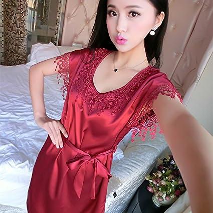 Wanglele Pijama De Verano Mujer Vestido De Lencería Pijamas De Seda Lace Trim Princesa Vestido Suelto