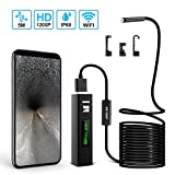 Wireless Endoscope, KATUMO WiFi Borescope Inspection Camera 2.0 Megapixels 1200P HD Semi-rigid Waterproof Snake Camera for Android and IOS Smartphone, iPhone, Tablet, MAC, PC - Black( 16.4ft / 5M )