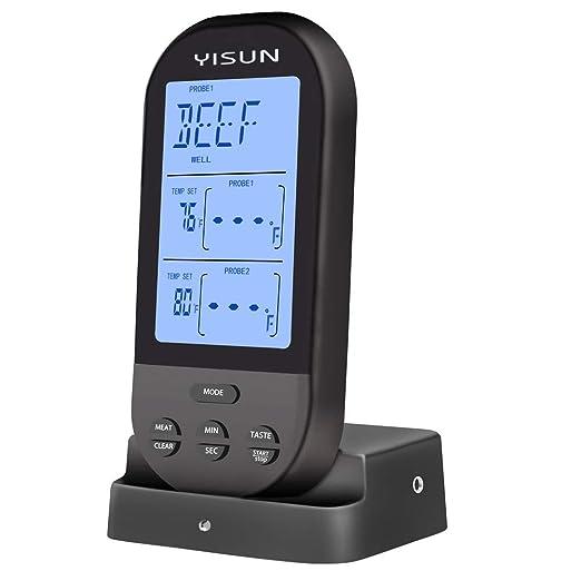 Digital remoto inalámbrico termómetro de carne 2 sonda, horno ...
