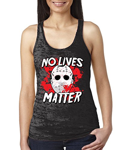 Le Top Halloween (WOMENS No Lives Matter - Halloween Burnout Racerback Tank Top (Small, BLACK))