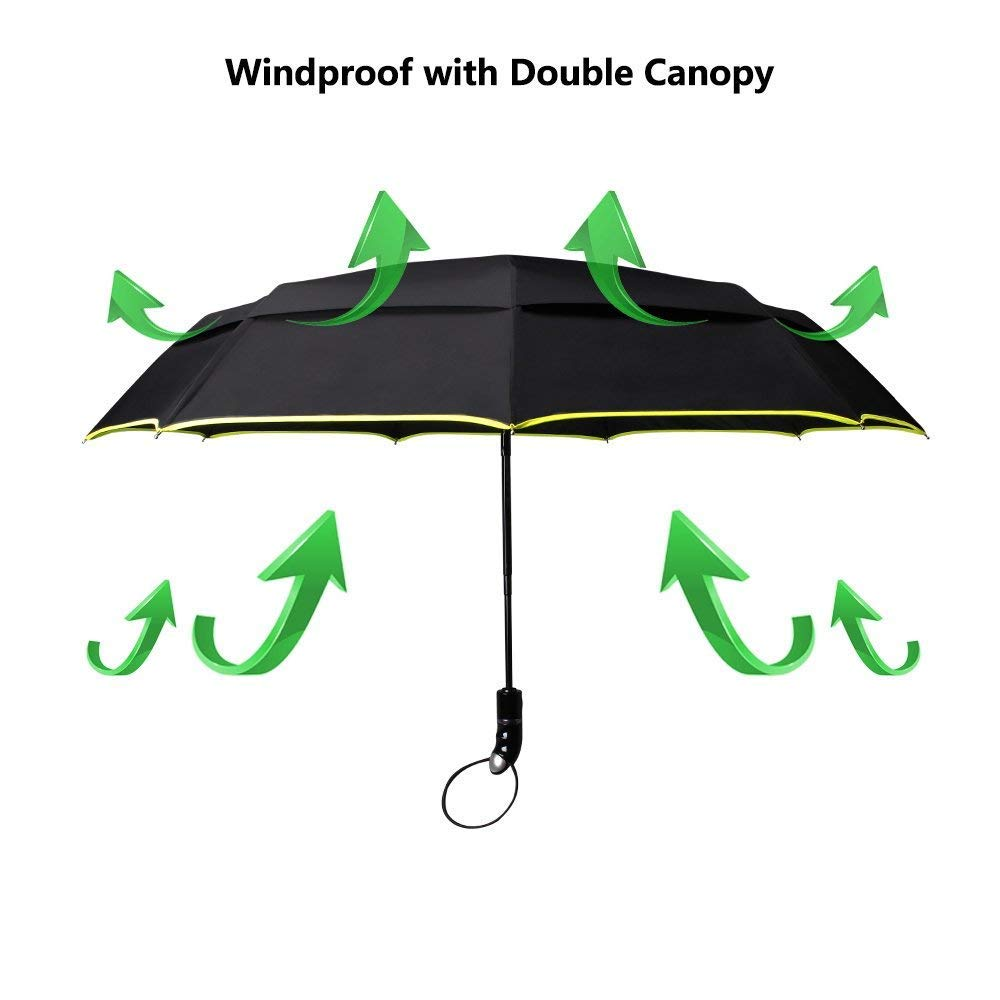 48-Inches Large Windproof Auto Umbrella Open Close Double Canopy Folding Travel Umbrella with 9 Ribs (Black)