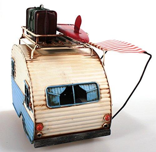 Unbekannt Wohnwagen aus Metall 23 cm hellblau mit Rahmen und Spardose Camper Auto Oldtimer Nostalgie