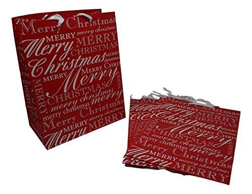 - Holiday Gift Bags - Merry Christmas with Glitter - 6 Bags (10 in. x 5.75 in. x 13 in.)