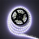 ALITOVE 16.4ft 5050 SMD Black PCB Cool White LED Flexible Strip Ribbon Light 5M 300 LEDs Waterproof IP65 DC 12V for Home Garden Commercial Area Lighting