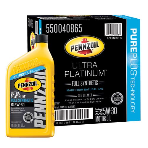 Pennzoil 550040865 6pk ultra platinum 5w 30 full synthetic for Synthetic motor oil test