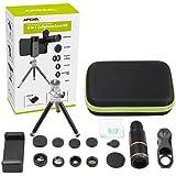 Lente para Celular APEXEL 16x Zoom Kit 5 Efeitos + Tripé e Controle para Foto Video