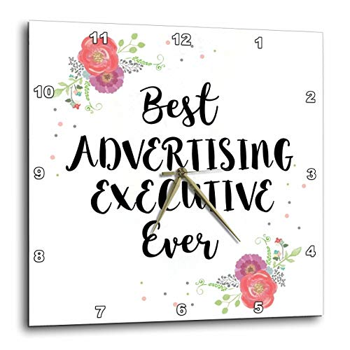 3dRose InspirationzStore - Love Series - Floral Best Advertising Executive Ever Watercolor Pink Flowers Exec - 13x13 Wall Clock ()