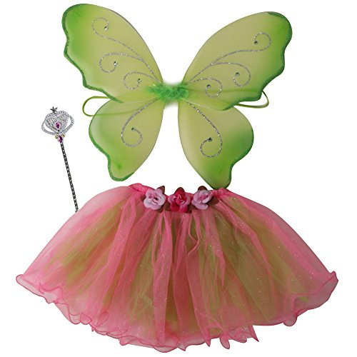 Diy Costumes With Green Tutus (Girls Flower Tutu, Lime Green Wing & Wand Fairy Dress Up Set Size 3-6 Years)
