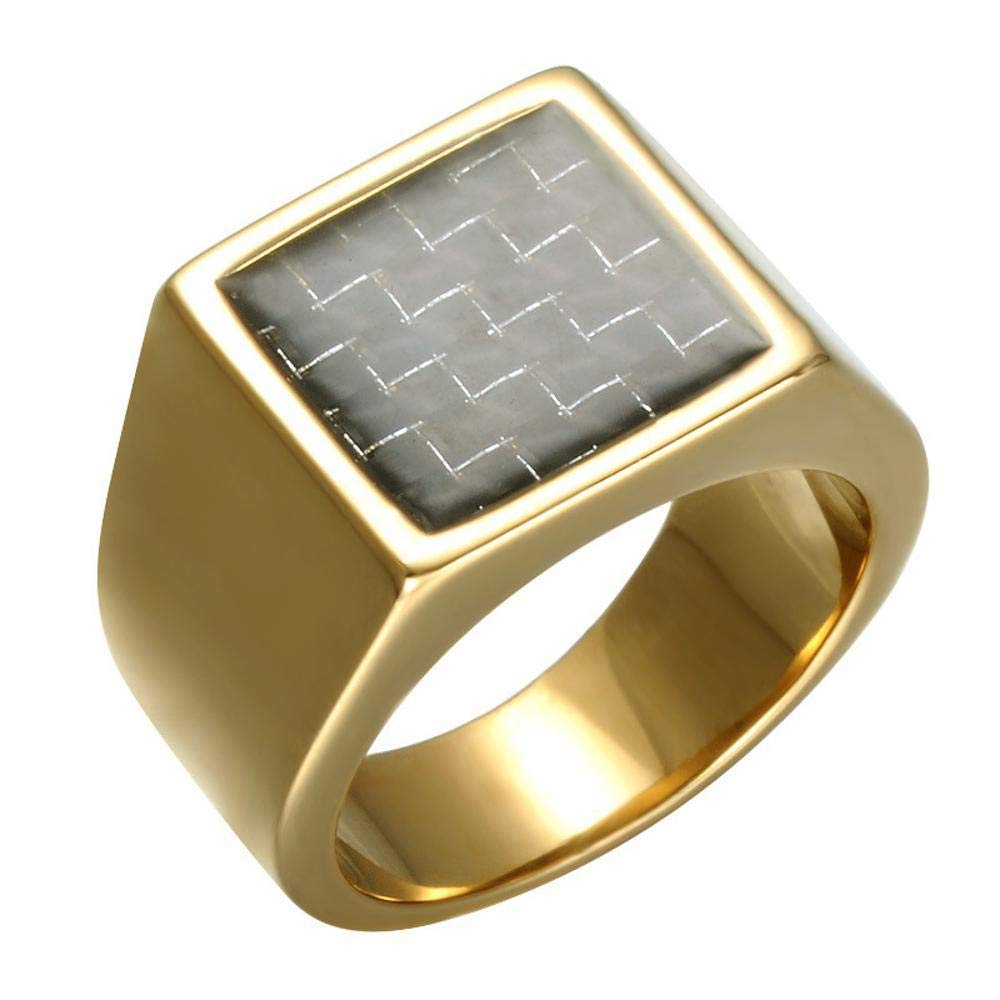 Dixinla Rings Steel , European Fashion Creative Carbon Steel Square Titanium Men's Ring Jewelry Gift for Family or Friends