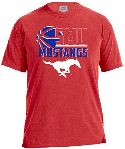 NCAA Smu Mustangs Basketball Logo Short Sleeve Comfort Color Tee, Large,Red