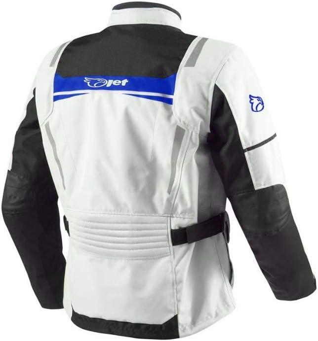 , Wei/ß Blau EU 62-64 6XL Jet Motorradjacke Herren Mit Protektoren Textil Wasserdicht Winddicht Aquatex