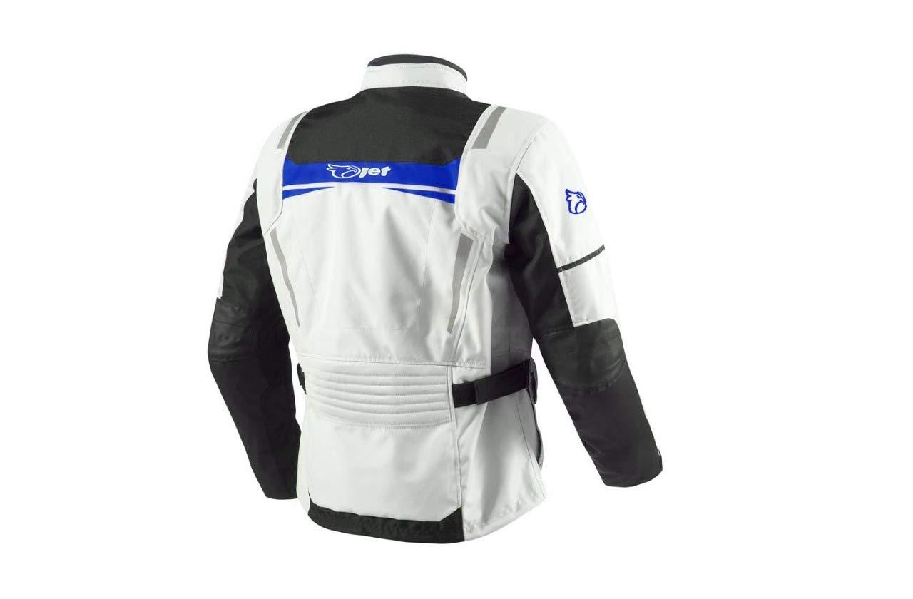EU 58-60 JET Chaqueta Moto Hombre Textil Impermeable con Armadura Aquatex 4XL , Blanco Azul