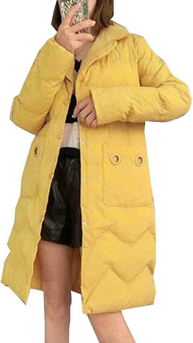 XQS Womens Winter Down Cotton Quilted Jacket Parka Lapel Coat Outwear