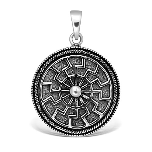 (WithLoveSilver 925 Sterling Silver Wheel Pagan Black Sun Occult Symbol Pendant)