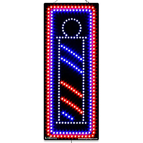 Large LED Window Beauty Salon Sign - Barber Pole Image - Extra Bright LEDs - Can Be Seen Through Tinted Windows - Extra Large - 32 inches Wide (#1874)