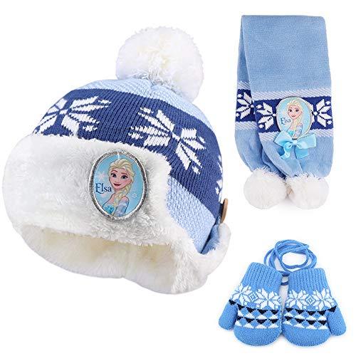 XTSP Winter Romance Children's Hat Scarf Gloves Three-Piece Winter Warm Baby Bib Set 1-3 (Color : Blue) (Romance Bib)