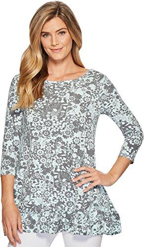 Mod-O-Doc Women's Cotton Modal Spandex Jersey 3/4 Sleeve Shirred Ruffle Tunic Light Clover - Cotton Shirred Tunic