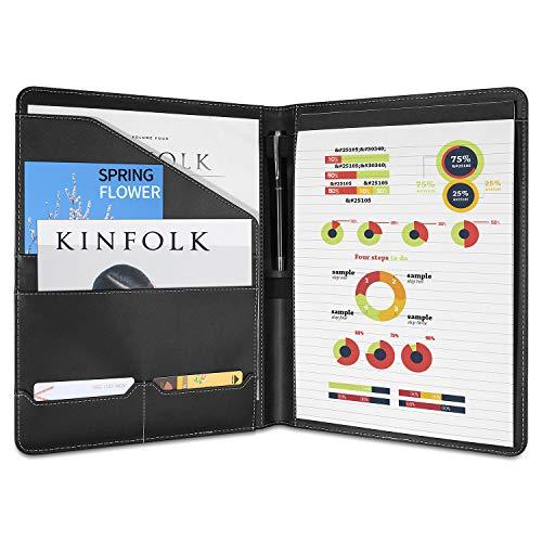 (ProCase Padfolio Resume Portfolio Folder Binder, Interview Business Legal Document Organizer, with Card Holder, Letter Size Writing Notepad -Black)