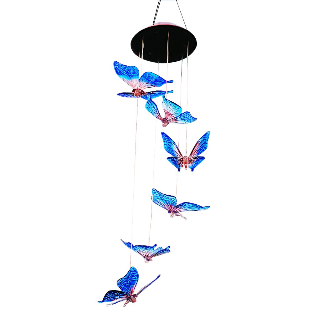 Color Changing Butterfly Solar Operated Light Wind Chime, Multi-color LED Solar Mobile Wind Spinner String Light (Blue Butterfly) by Yeyo