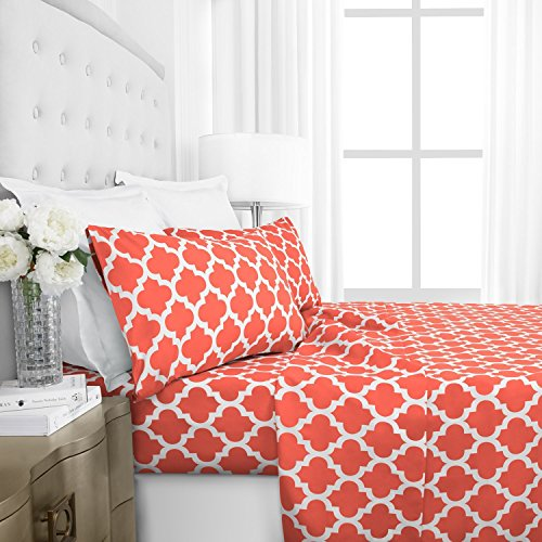 Italian Luxury 1800 Series Hotel Collection Quatrefoil Pattern Bed Sheet Set - Deep Pockets, Wrinkle and Fade Resistant, Hypoallergenic Printed Sheet and Pillow Case Set - Queen - Coral