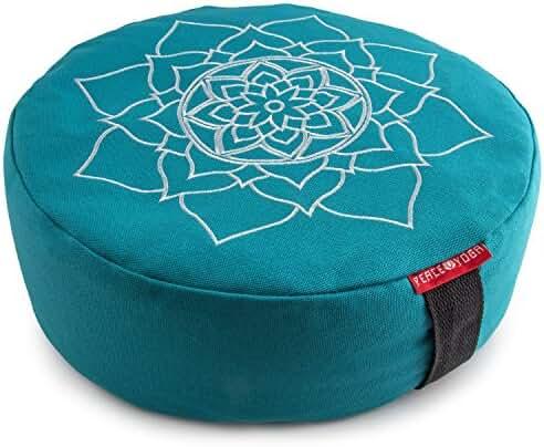 Peace Yoga Zafu Meditation Yoga Buckwheat Filled Cotton Bolster Pillow Cushion with Premium Designs - Choose you Design & Size
