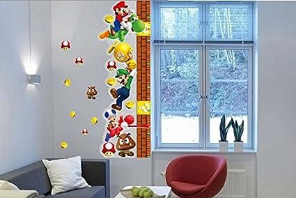 Adesivi Murali Super Mario.Una Misura Di Crescita Super Mario Bros Removibile Adesivi Murali Decalcomania Decorazioni Per La Casa Per Bambini