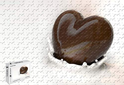 (PigBangbang,20.6 X 15.1 Inch,Stained Art Puzzle for Kids Adult Have Jigsaw Glue Wooden - Chocolate Milk Heart - 300 Piece Jigsaw Puzzle)